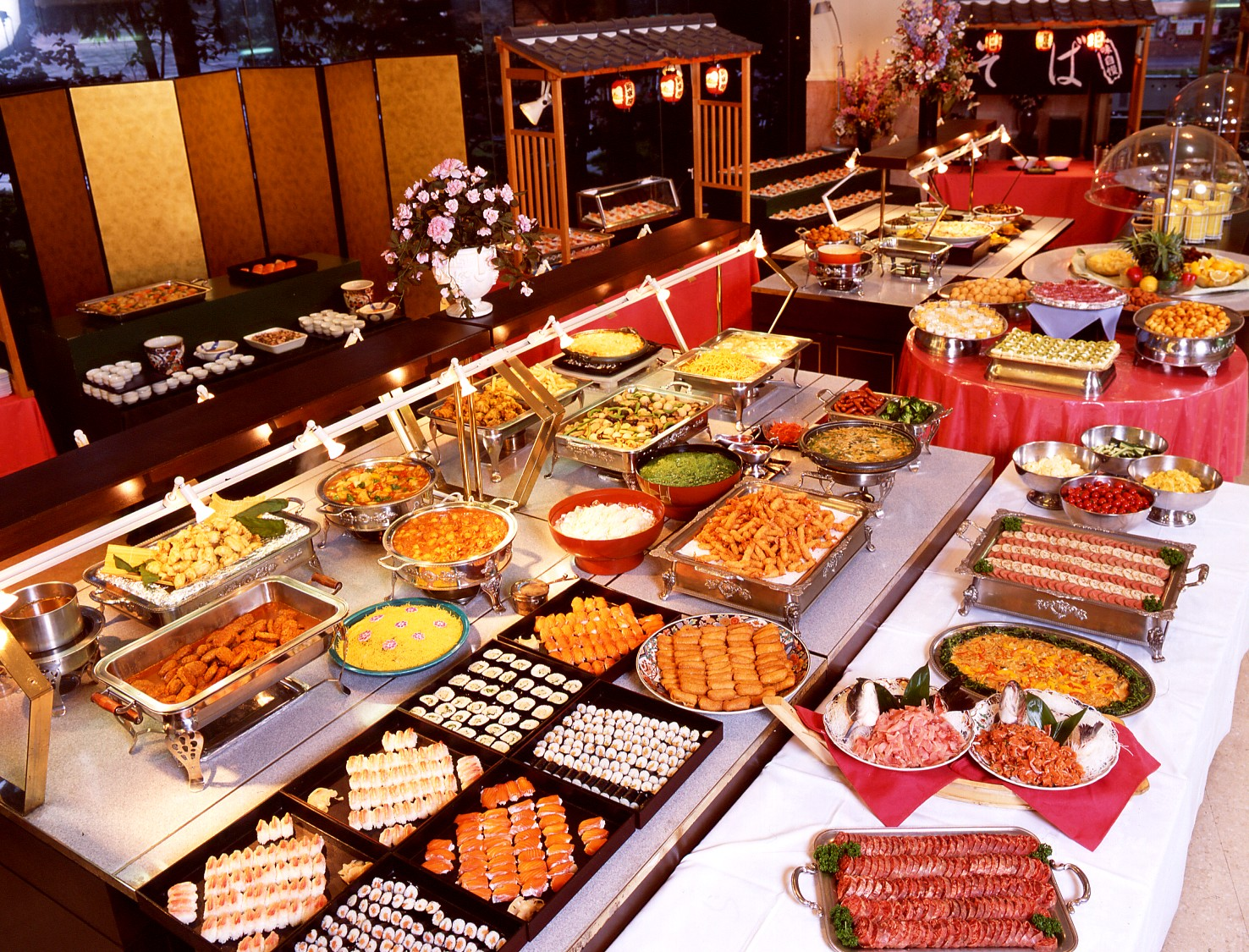 The buffet and the sushi conveyor stoltzfus research for Asian cuisine buffet